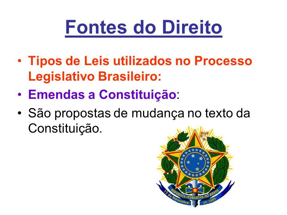 Fontes do Direito Tipos de Leis utilizados no Processo Legislativo Brasileiro: Emendas a Constituição: