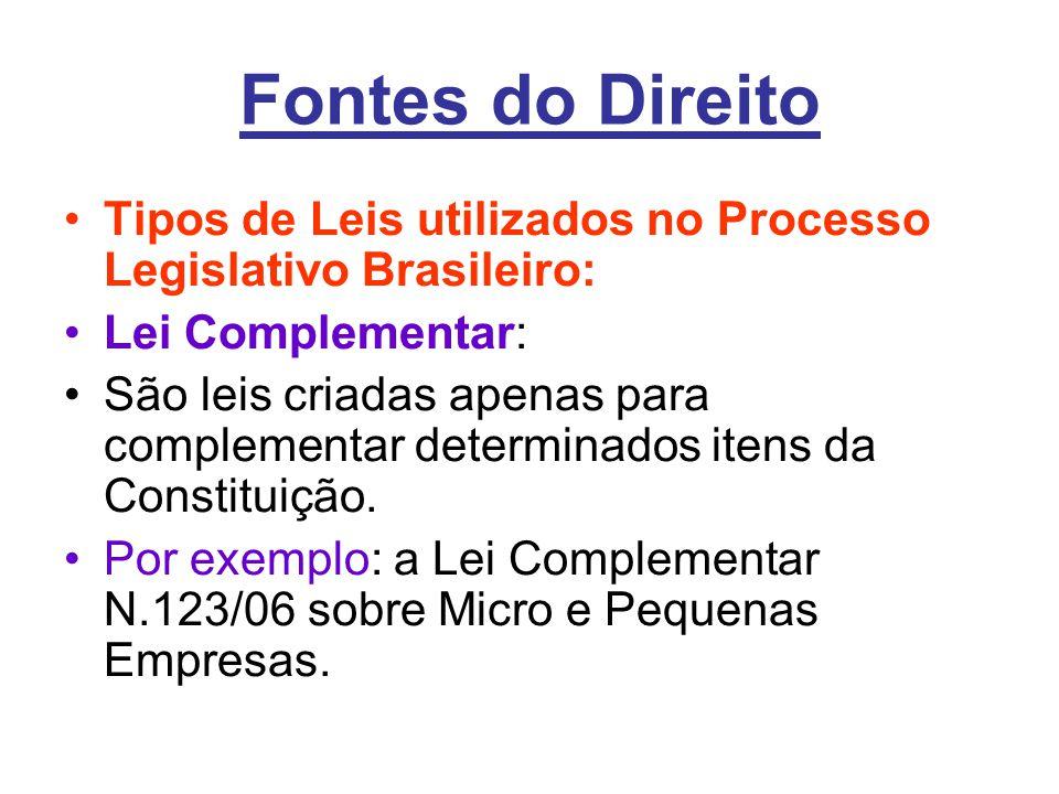 Fontes do Direito Tipos de Leis utilizados no Processo Legislativo Brasileiro: Lei Complementar: