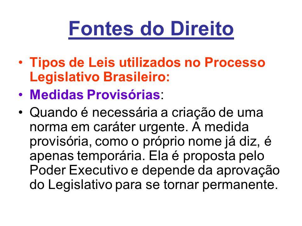 Fontes do Direito Tipos de Leis utilizados no Processo Legislativo Brasileiro: Medidas Provisórias: