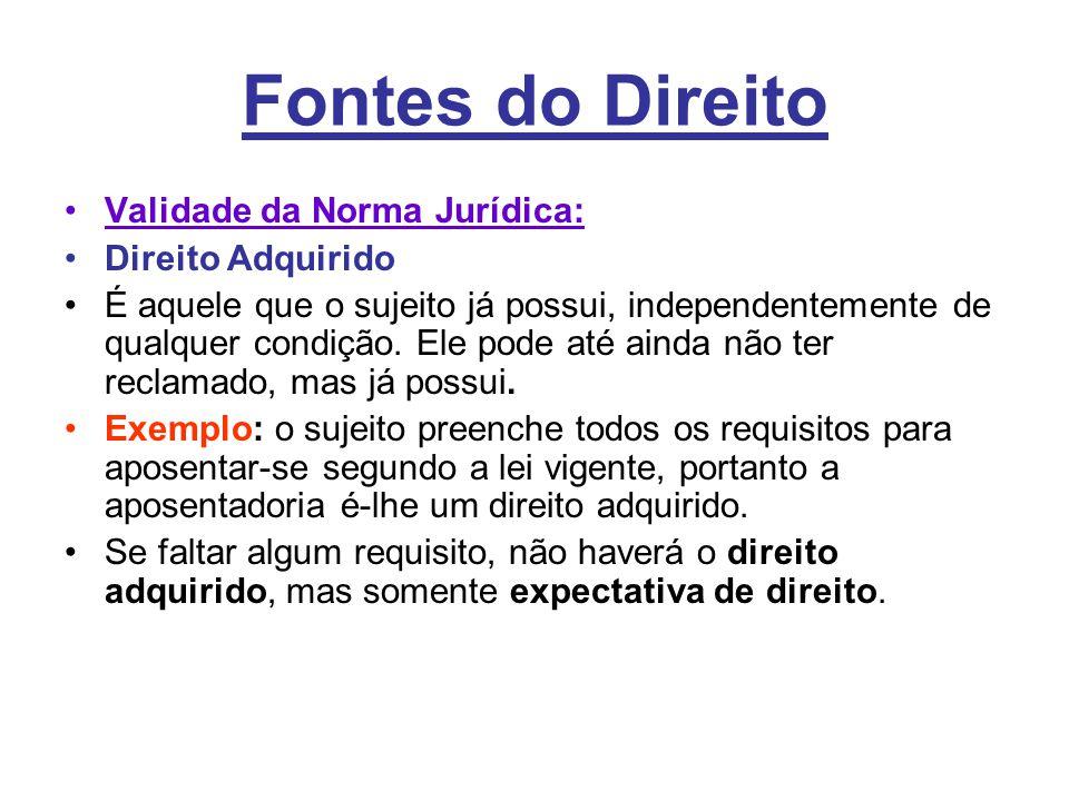 Fontes do Direito Validade da Norma Jurídica: Direito Adquirido