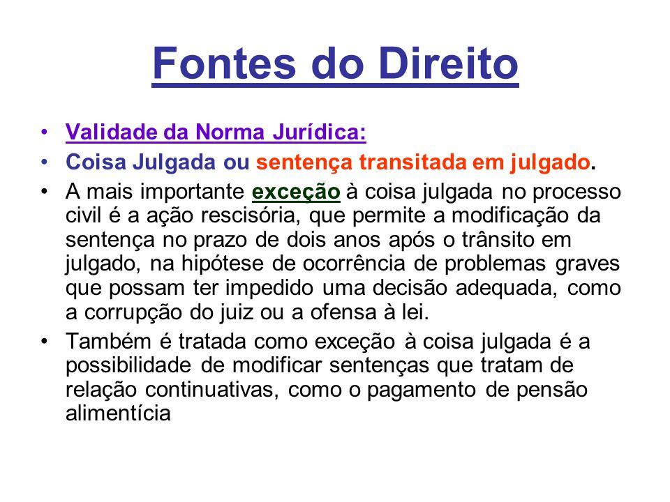 Fontes do Direito Validade da Norma Jurídica: