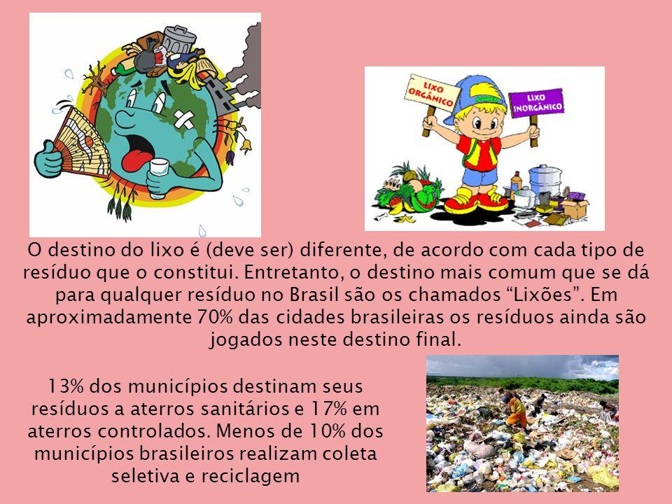O destino do lixo é (deve ser) diferente, de acordo com cada tipo de resíduo que o constitui. Entretanto, o destino mais comum que se dá para qualquer resíduo no Brasil são os chamados Lixões . Em aproximadamente 70% das cidades brasileiras os resíduos ainda são jogados neste destino final.