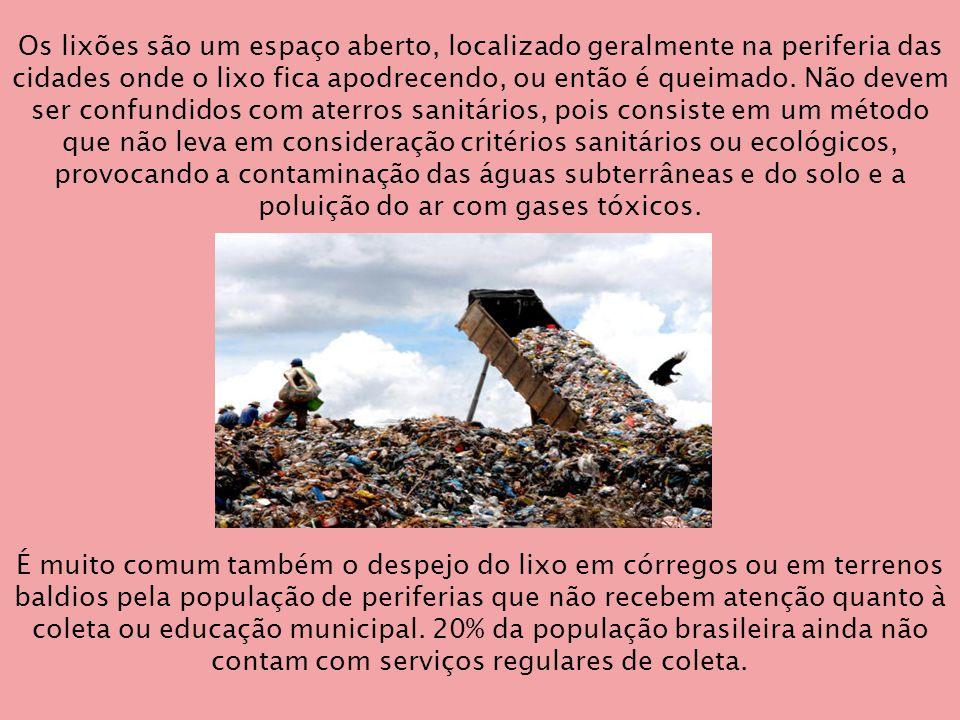Os lixões são um espaço aberto, localizado geralmente na periferia das cidades onde o lixo fica apodrecendo, ou então é queimado. Não devem ser confundidos com aterros sanitários, pois consiste em um método que não leva em consideração critérios sanitários ou ecológicos, provocando a contaminação das águas subterrâneas e do solo e a poluição do ar com gases tóxicos.