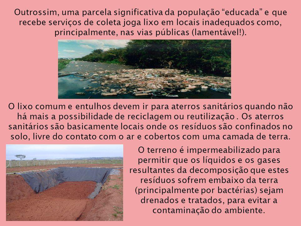 Outrossim, uma parcela significativa da população educada e que recebe serviços de coleta joga lixo em locais inadequados como, principalmente, nas vias públicas (lamentável!).