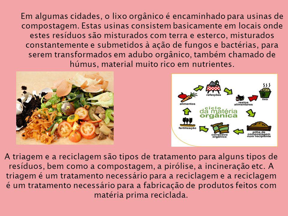 Em algumas cidades, o lixo orgânico é encaminhado para usinas de compostagem. Estas usinas consistem basicamente em locais onde estes resíduos são misturados com terra e esterco, misturados constantemente e submetidos à ação de fungos e bactérias, para serem transformados em adubo orgânico, também chamado de húmus, material muito rico em nutrientes.