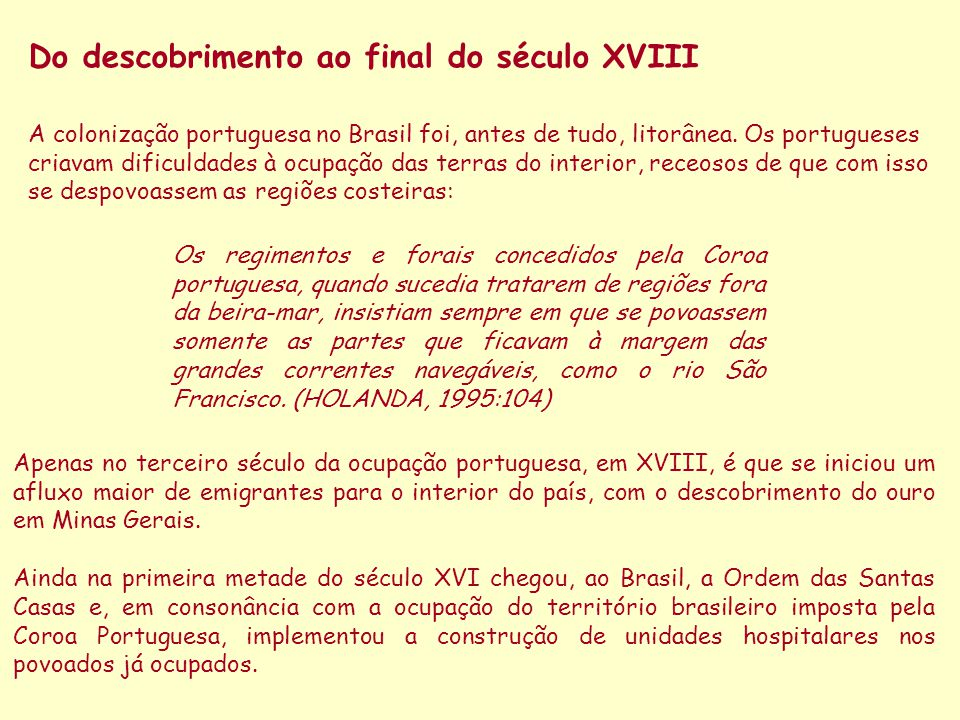 Do descobrimento ao final do século XVIII