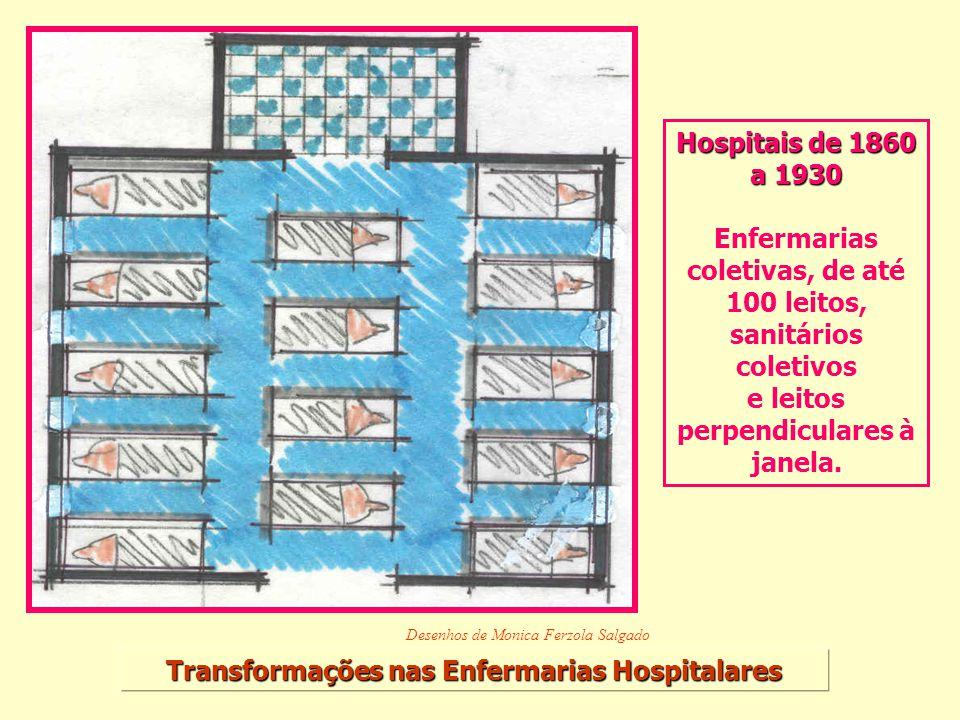Enfermarias coletivas, de até 100 leitos, sanitários coletivos