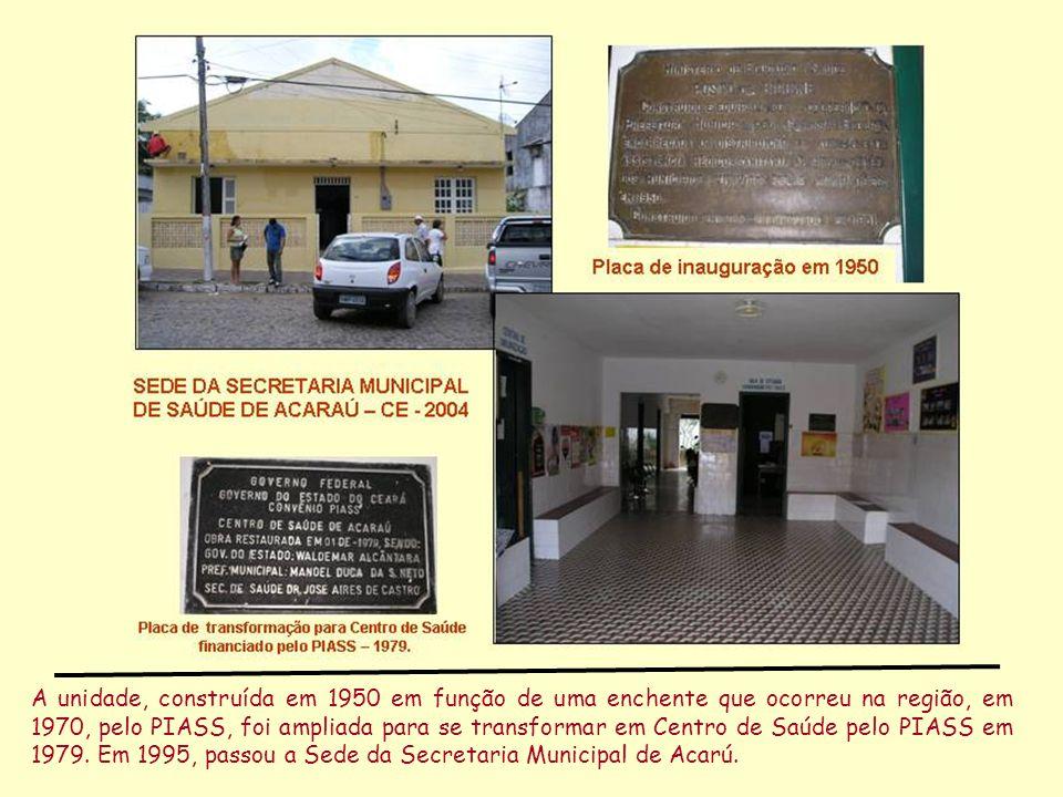 A unidade, construída em 1950 em função de uma enchente que ocorreu na região, em 1970, pelo PIASS, foi ampliada para se transformar em Centro de Saúde pelo PIASS em 1979.