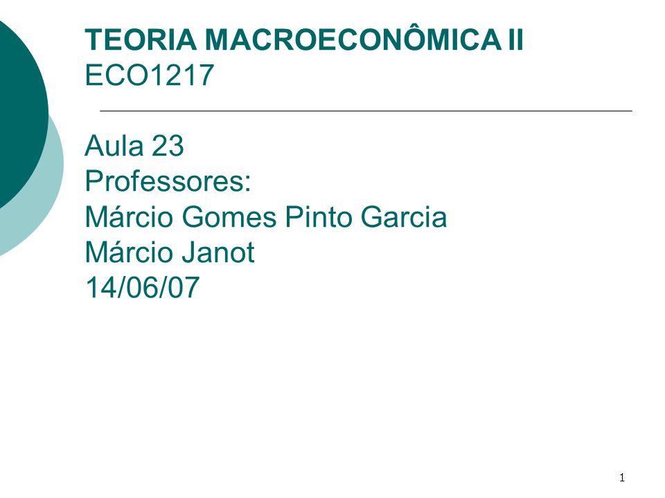 TEORIA MACROECONÔMICA II ECO1217 Aula 23 Professores: Márcio Gomes Pinto Garcia Márcio Janot 14/06/07