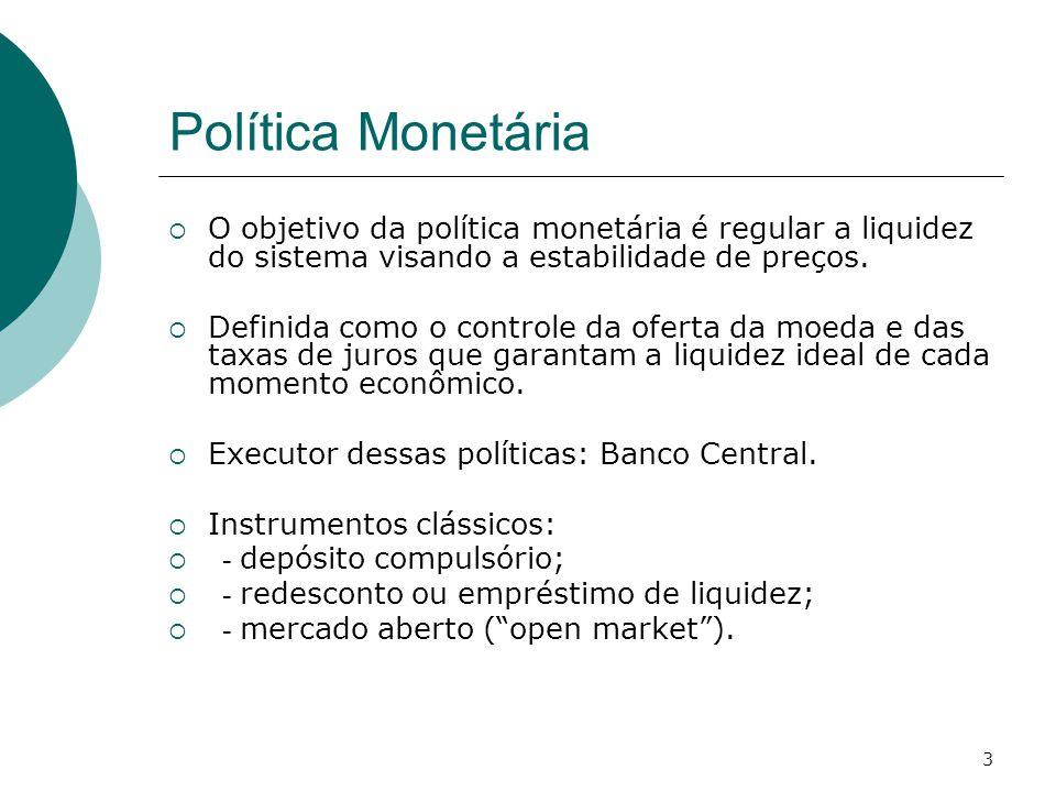 Política Monetária O objetivo da política monetária é regular a liquidez do sistema visando a estabilidade de preços.