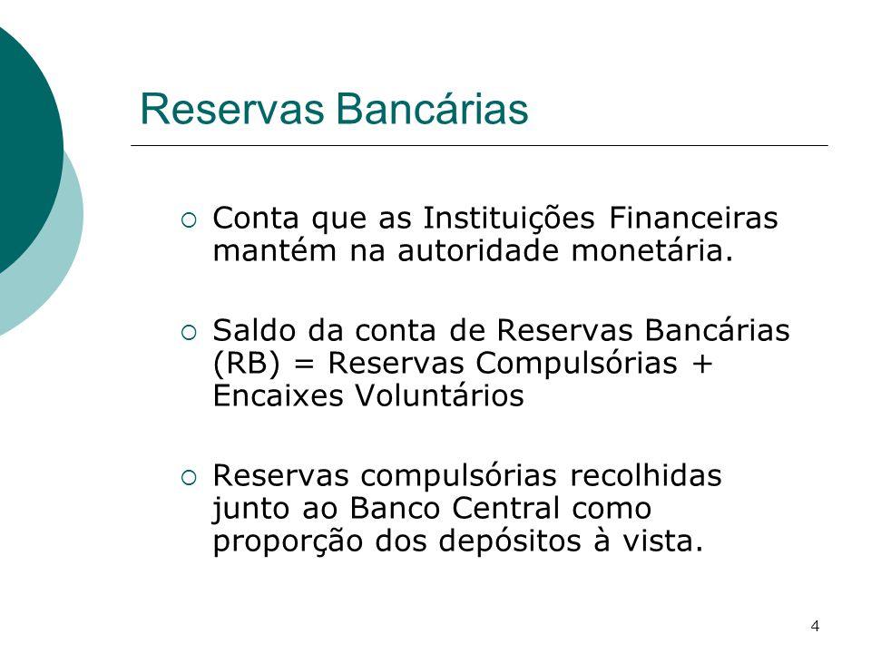 Reservas Bancárias Conta que as Instituições Financeiras mantém na autoridade monetária.