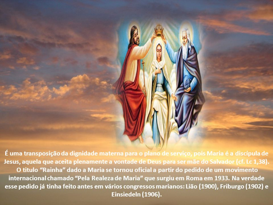 É uma transposição da dignidade materna para o plano de serviço, pois Maria é a discípula de Jesus, aquela que aceita plenamente a vontade de Deus para ser mãe do Salvador (cf. Lc 1,38).
