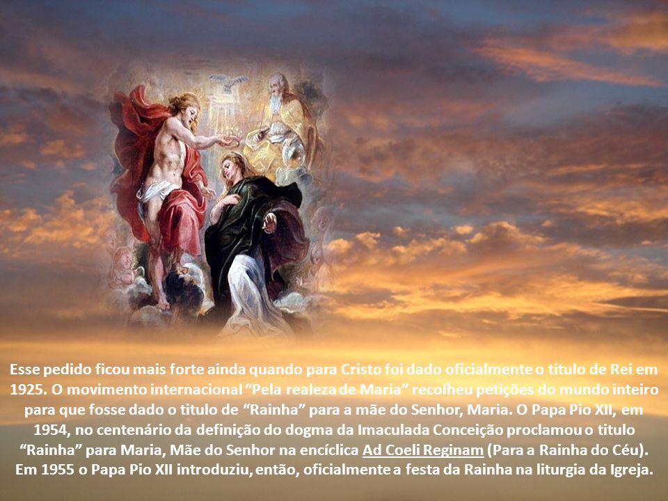 Esse pedido ficou mais forte ainda quando para Cristo foi dado oficialmente o titulo de Rei em 1925.
