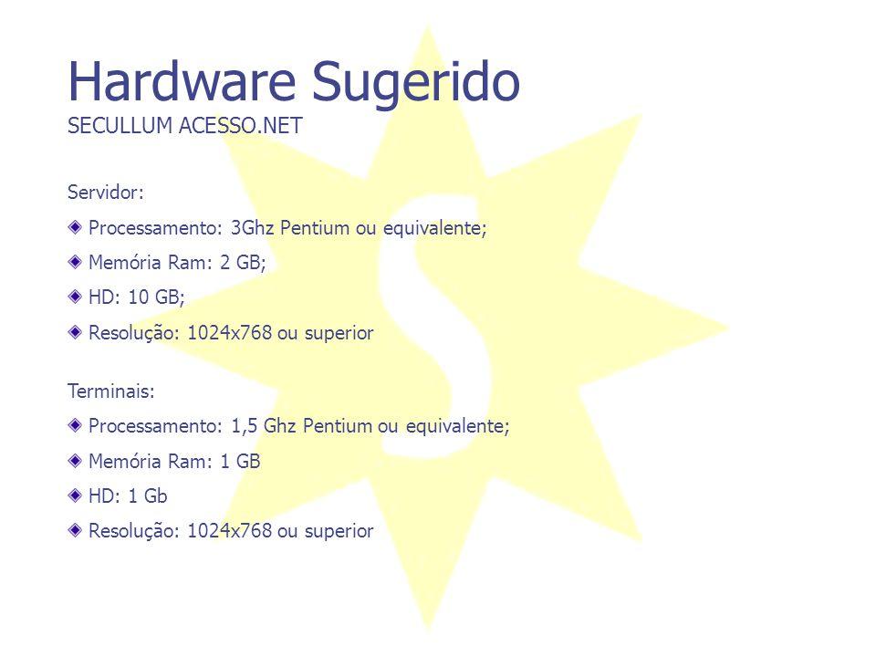 Hardware Sugerido SECULLUM ACESSO.NET