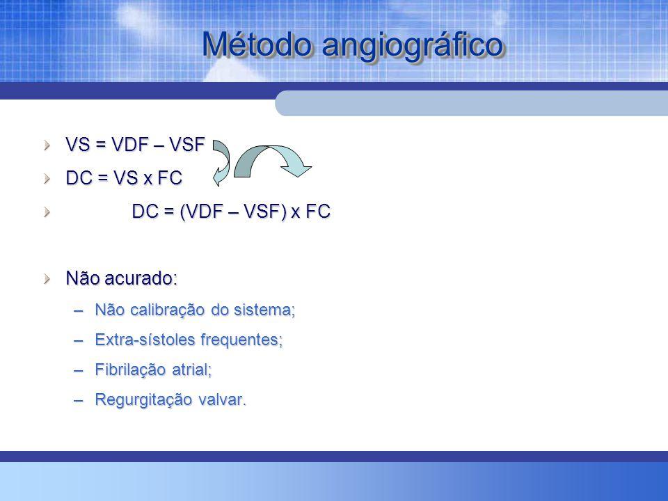 Método angiográfico VS = VDF – VSF DC = VS x FC DC = (VDF – VSF) x FC