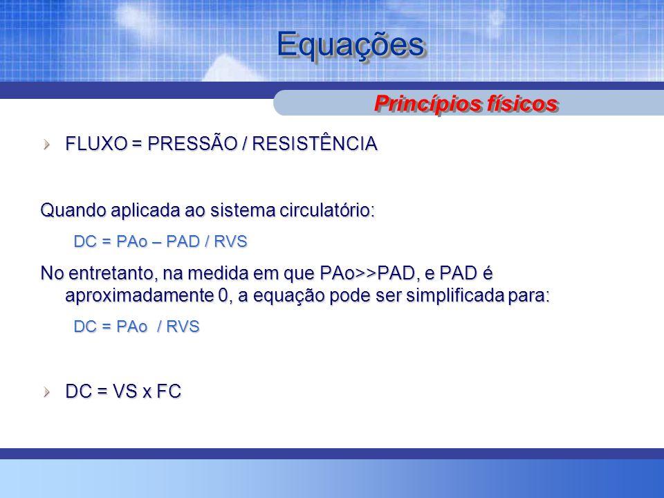 Equações Princípios físicos FLUXO = PRESSÃO / RESISTÊNCIA
