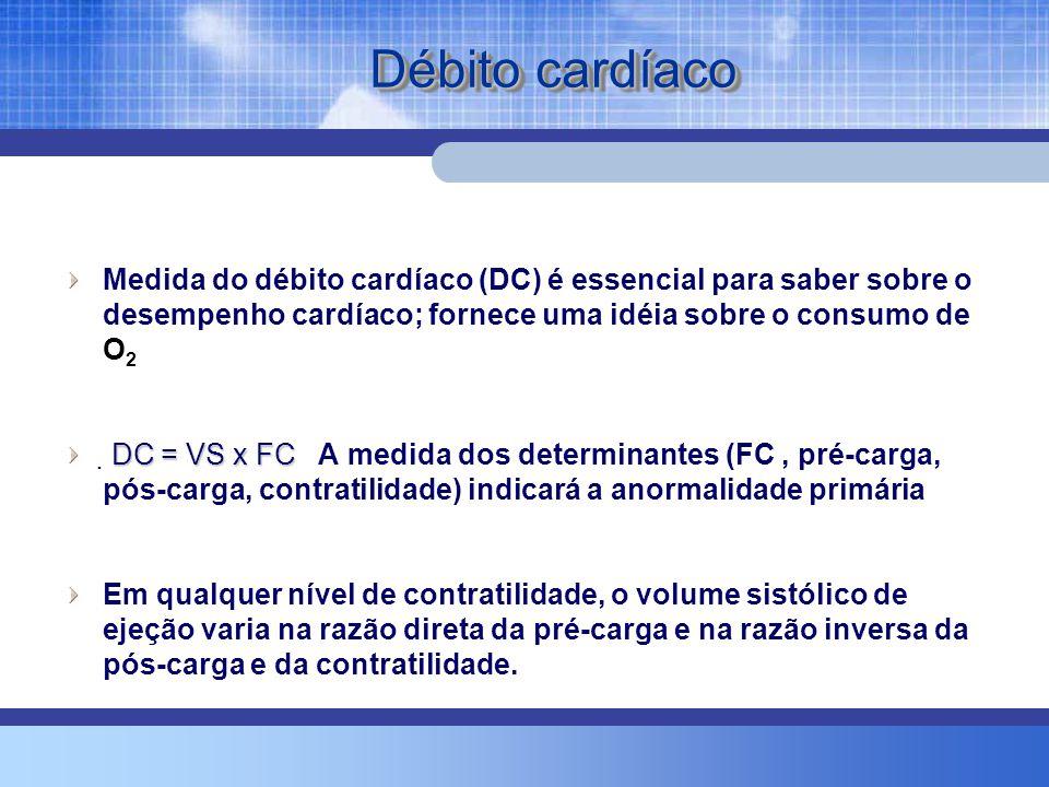Débito cardíaco Medida do débito cardíaco (DC) é essencial para saber sobre o desempenho cardíaco; fornece uma idéia sobre o consumo de O2.