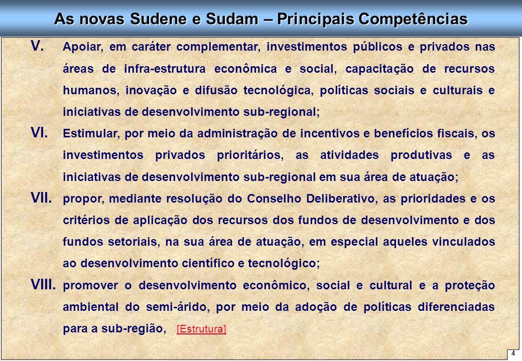 As novas Sudene e Sudam – Principais Competências