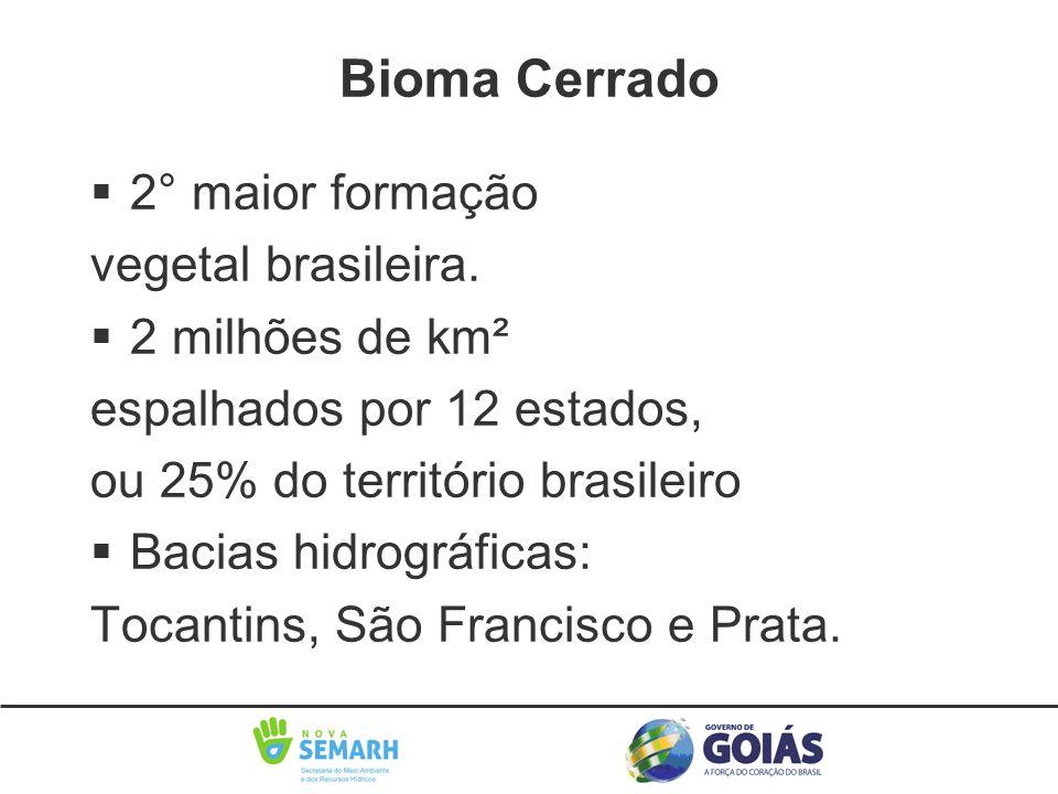 Bioma Cerrado 2° maior formação vegetal brasileira. 2 milhões de km²