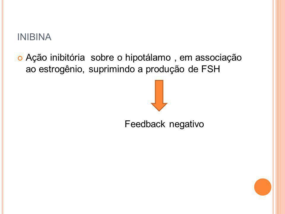 inibina Ação inibitória sobre o hipotálamo , em associação ao estrogênio, suprimindo a produção de FSH.