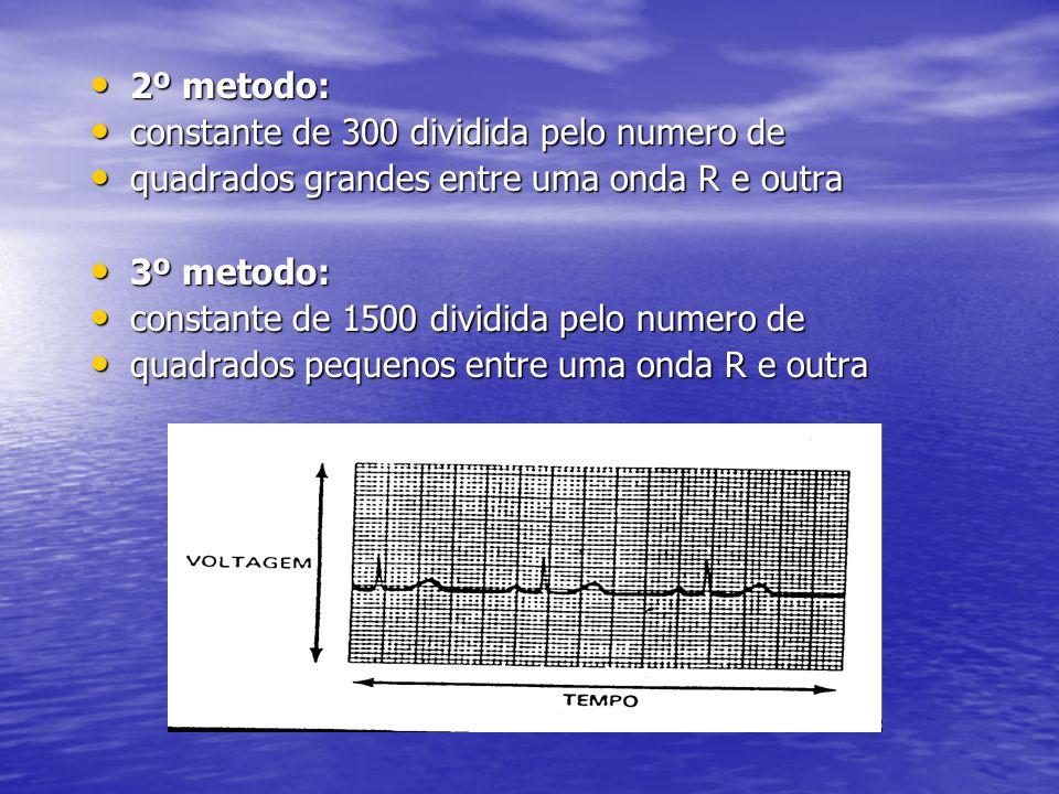 2º metodo: constante de 300 dividida pelo numero de. quadrados grandes entre uma onda R e outra. 3º metodo: