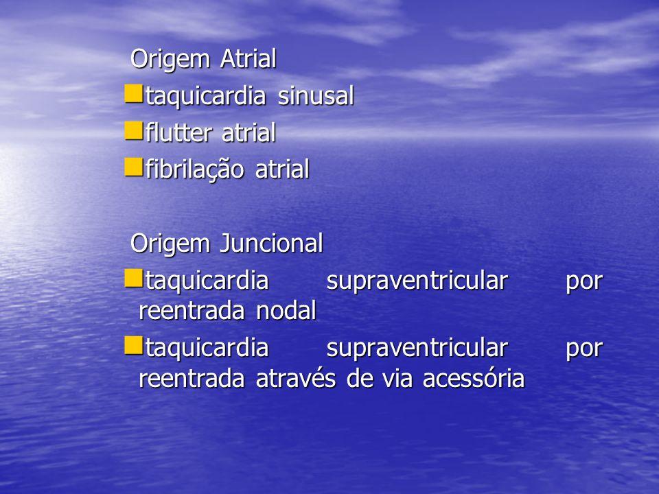 Origem Atrial taquicardia sinusal. flutter atrial. fibrilação atrial. Origem Juncional. taquicardia supraventricular por reentrada nodal.