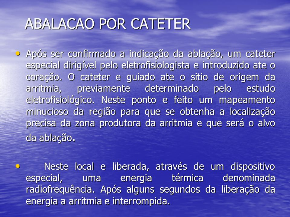 ABALACAO POR CATETER