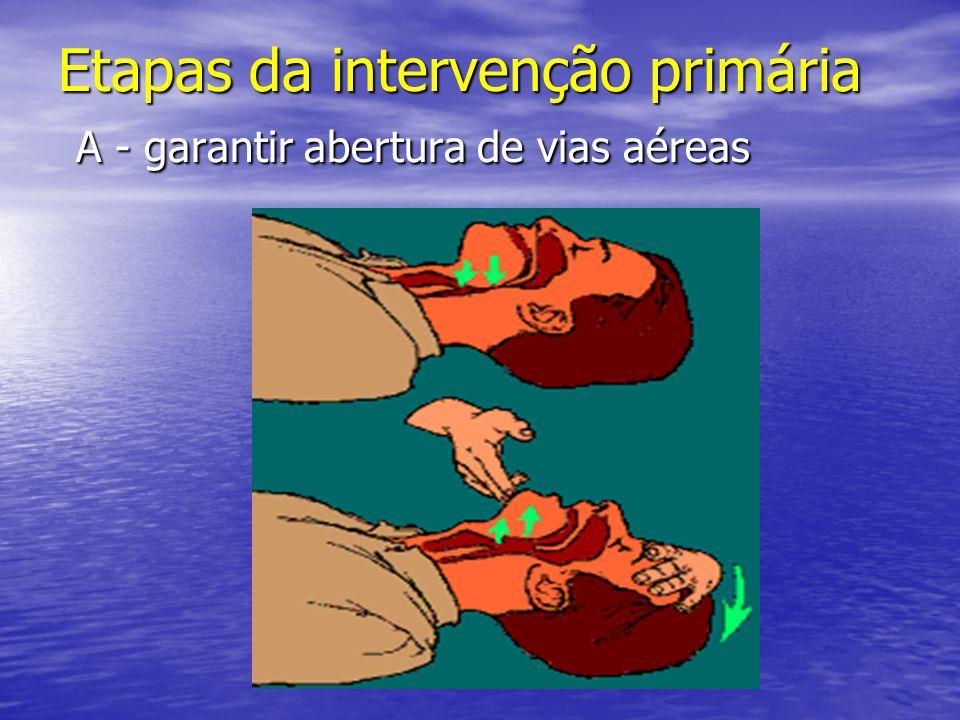 Etapas da intervenção primária A - garantir abertura de vias aéreas