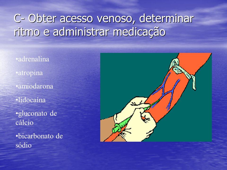 C- Obter acesso venoso, determinar ritmo e administrar medicação