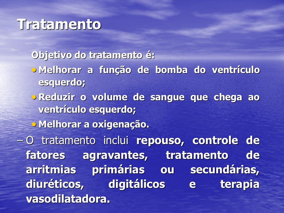 Tratamento Objetivo do tratamento é: Melhorar a função de bomba do ventrículo esquerdo;