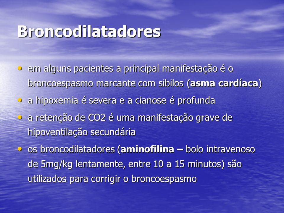 Broncodilatadores em alguns pacientes a principal manifestação é o broncoespasmo marcante com sibilos (asma cardíaca)