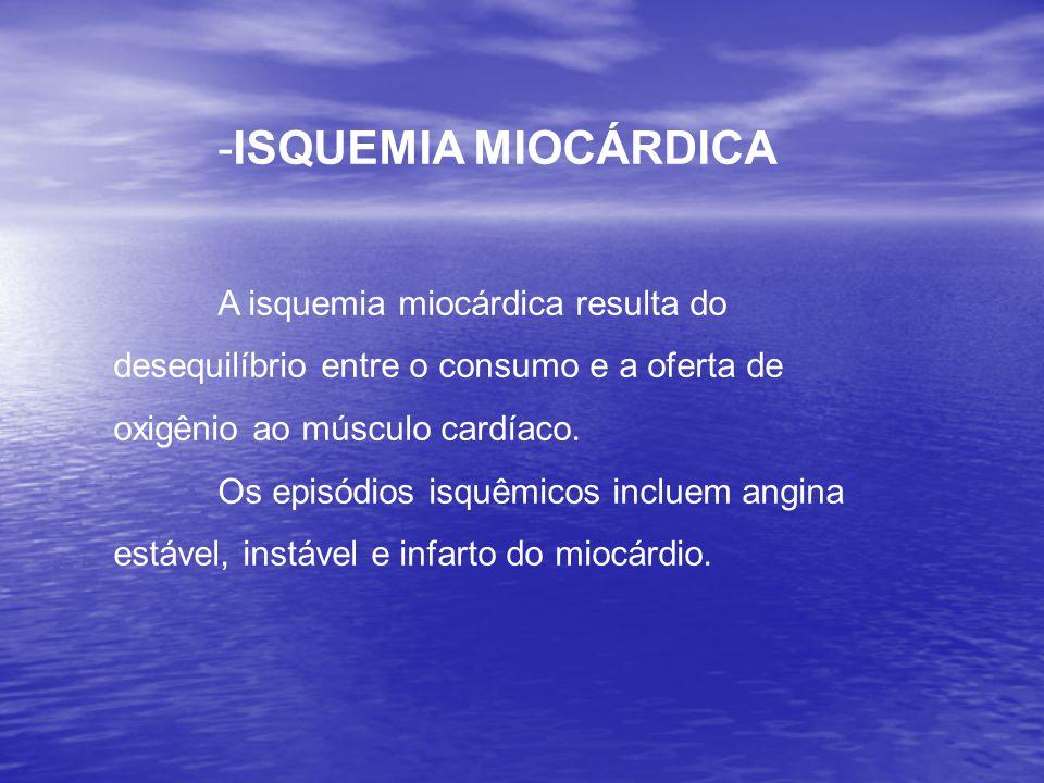 ISQUEMIA MIOCÁRDICA A isquemia miocárdica resulta do desequilíbrio entre o consumo e a oferta de oxigênio ao músculo cardíaco.