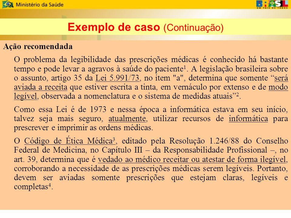 Exemplo de caso (Continuação)