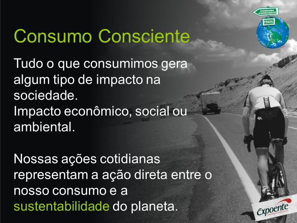 Consumo Consciente Tudo o que consumimos gera algum tipo de impacto na sociedade. Impacto econômico, social ou ambiental.