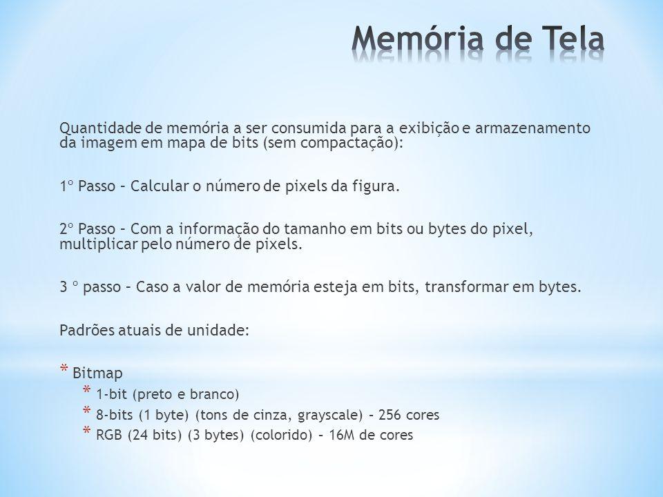 Memória de Tela Quantidade de memória a ser consumida para a exibição e armazenamento da imagem em mapa de bits (sem compactação):