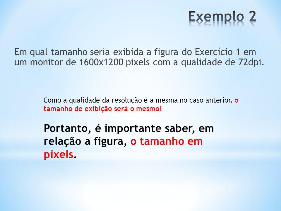 Exemplo 2 Em qual tamanho seria exibida a figura do Exercício 1 em um monitor de 1600x1200 pixels com a qualidade de 72dpi.