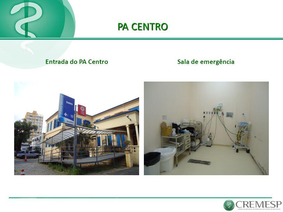 PA CENTRO Entrada do PA Centro Sala de emergência