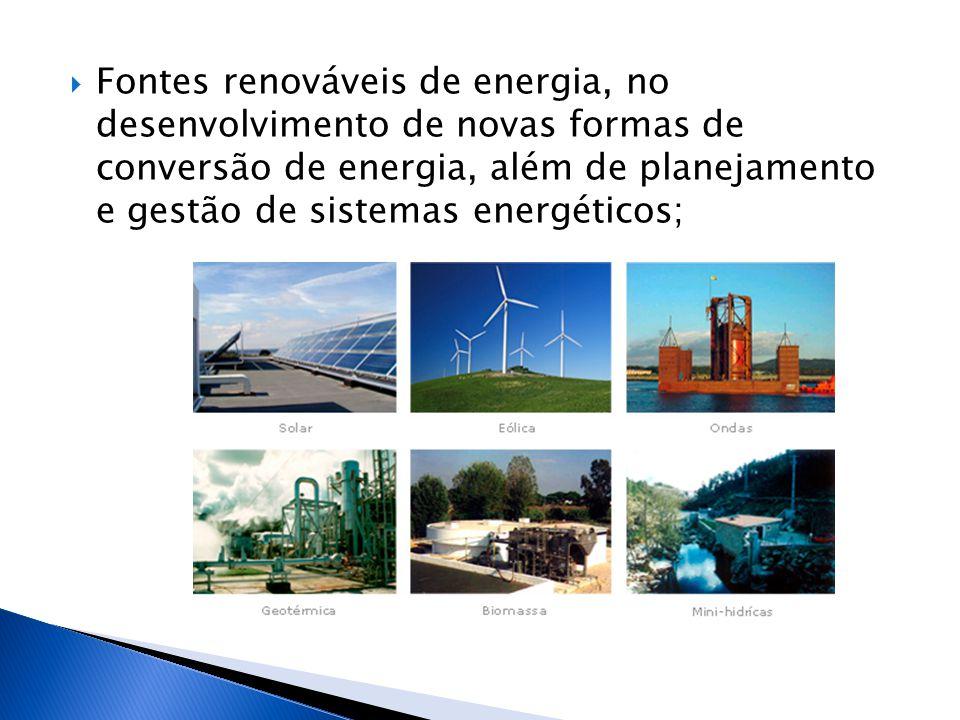 Fontes renováveis de energia, no desenvolvimento de novas formas de conversão de energia, além de planejamento e gestão de sistemas energéticos;