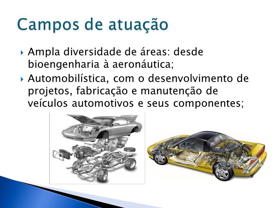 Campos de atuação Ampla diversidade de áreas: desde bioengenharia à aeronáutica;
