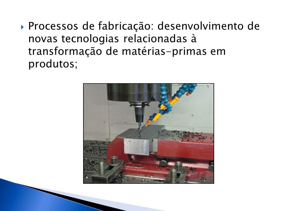 Processos de fabricação: desenvolvimento de novas tecnologias relacionadas à transformação de matérias-primas em produtos;