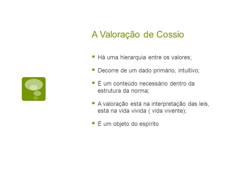 A Valoração de Cossio Há uma hierarquia entre os valores;