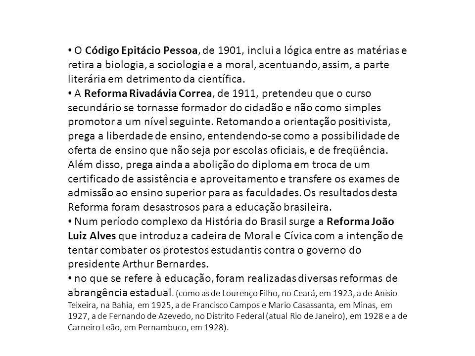 O Código Epitácio Pessoa, de 1901, inclui a lógica entre as matérias e retira a biologia, a sociologia e a moral, acentuando, assim, a parte literária em detrimento da científica.