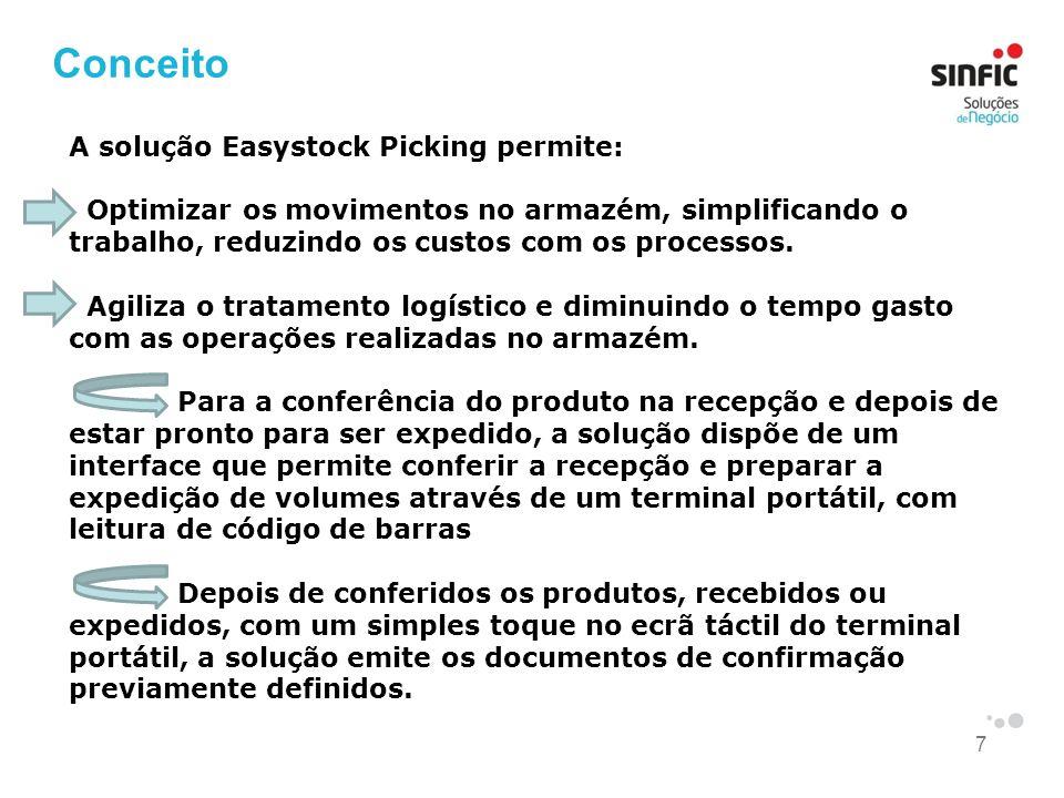 Conceito A solução Easystock Picking permite: