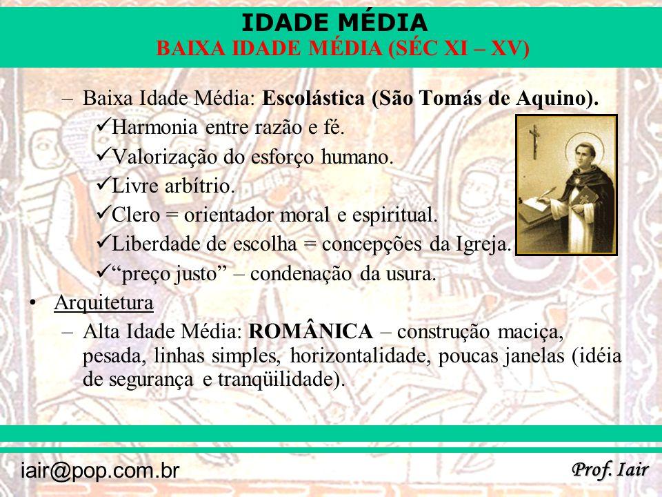 Baixa Idade Média: Escolástica (São Tomás de Aquino).