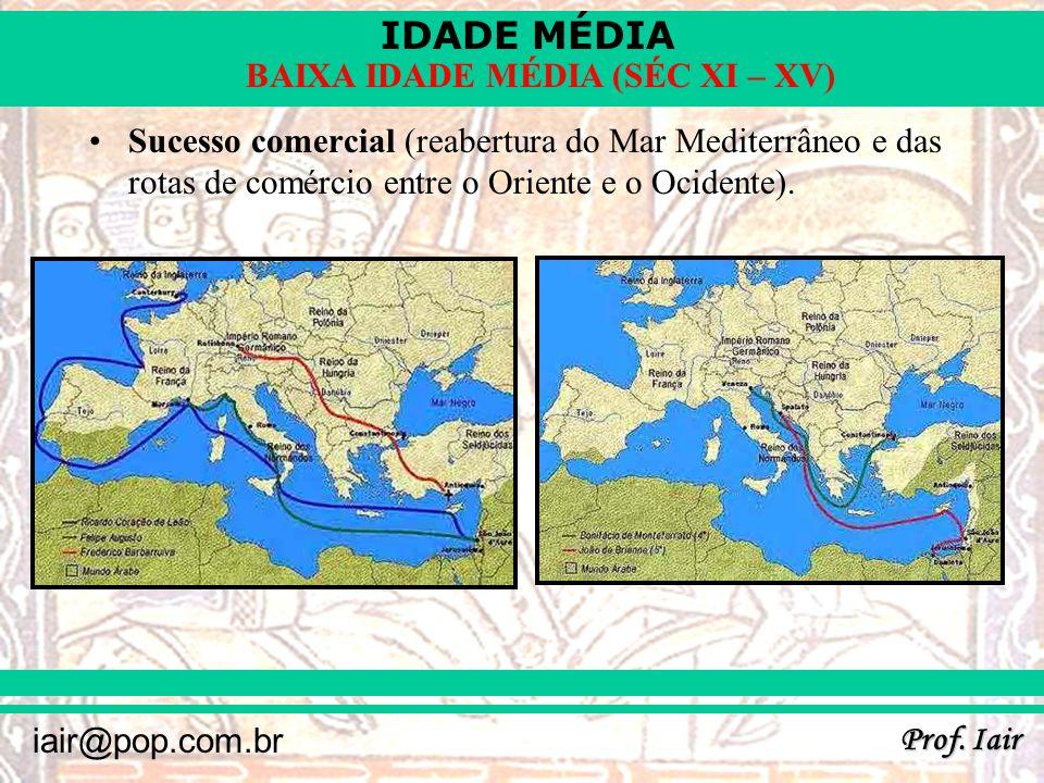 Sucesso comercial (reabertura do Mar Mediterrâneo e das rotas de comércio entre o Oriente e o Ocidente).