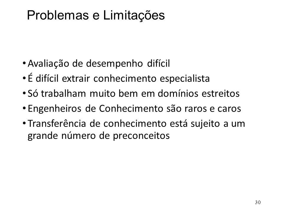 Problemas e Limitações