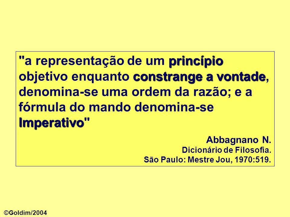 a representação de um princípio objetivo enquanto constrange a vontade, denomina-se uma ordem da razão; e a fórmula do mando denomina-se Imperativo