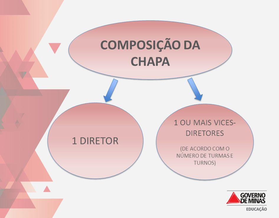 COMPOSIÇÃO DA CHAPA 1 DIRETOR 1 OU MAIS VICES-DIRETORES