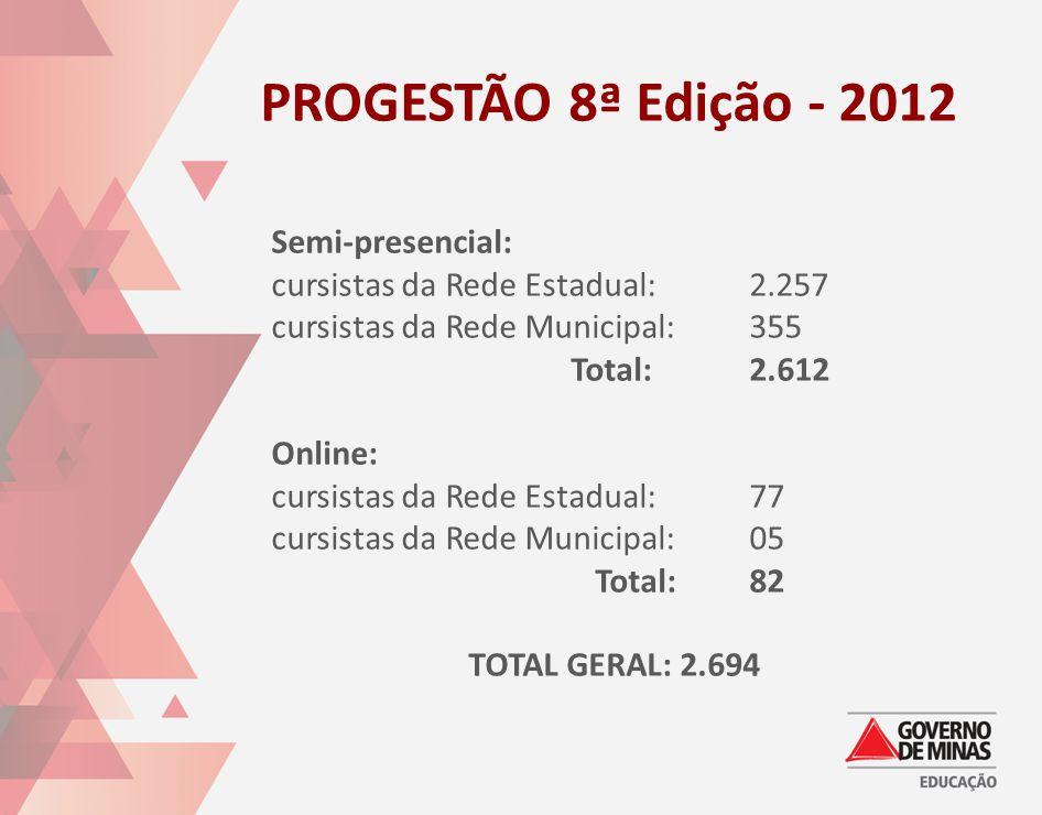 PROGESTÃO 8ª Edição - 2012 Semi-presencial: