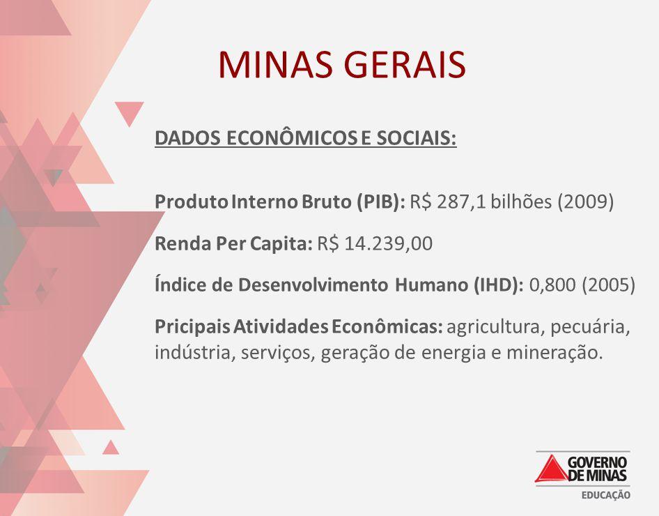 MINAS GERAIS DADOS ECONÔMICOS E SOCIAIS:
